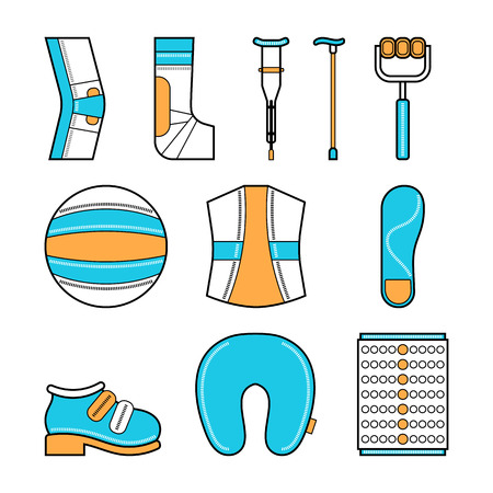 orthopedics: Orthopedics, medical set of shoes, crutches, bandages, fitball and other items for the rehabilitation Illustration