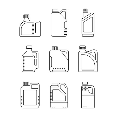 with liquids: Blank Plastic Canisters, flat icons. Plastic Packaging for Machine Oil, Water and other Liquids