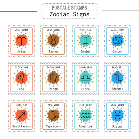 predictions: Zodiac signs icons for horoscopes, predictions, postage stamps