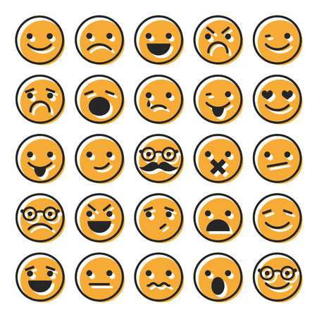 confused man: Set of emoticons, flat characters icons for design Illustration