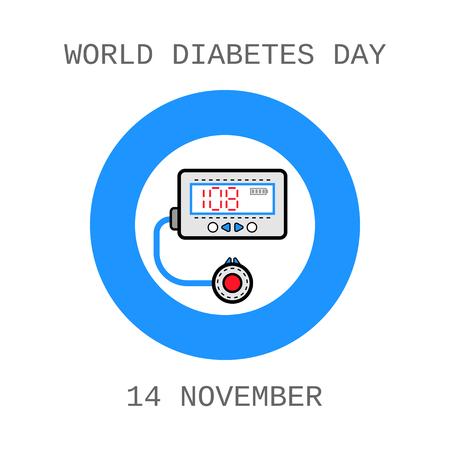 Wereld Diabetes Dag. Medische vlakke pictogrammen. insulinepomp