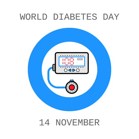 insulin: World Diabetes Day. Medical flat icons. Insulin pump Illustration