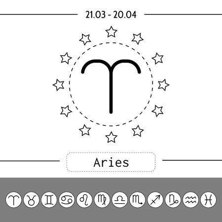 predictions: Aries, zodiac sign icon for horoscopes, predictions. Set of outlined zodiac icons
