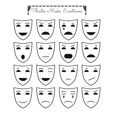comedy: Set of outline theatrical masks, icons, emoticons. Different characters and emotions for design