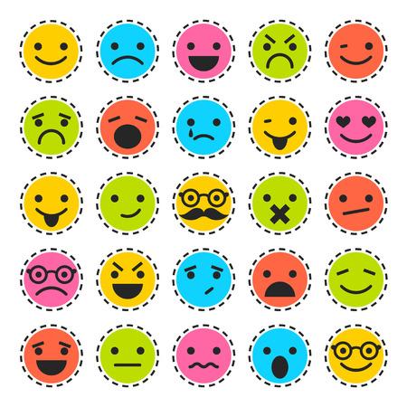 Emoticons. Set karakters in verschillende emoties. Lachende pictogrammen Stock Illustratie