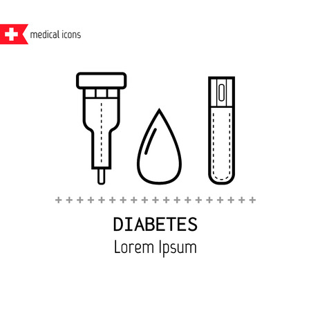 glucose: Diabetes Icons. Drop of blood and test glucose levels.  Medical objects