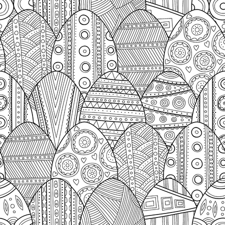 Seamless black and white pattern Easter eggs for coloring book, pages