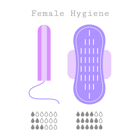 clean blood: Tampon and strip, flat icons. Feminine hygiene products. Care during menstruation Stock Photo