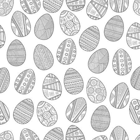 Patrón De Huevos De Color Blanco Y Negro Sin Fisuras De Pascua Para ...