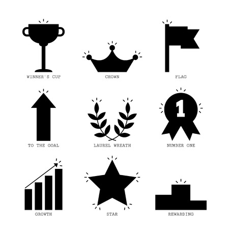 number icon: Icons of success and victory, black silhouettes for design