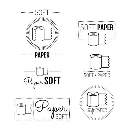 toilet paper art: Toilet paper icon, emblems, labels.