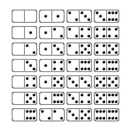 Set of domino, illustration, symbols for games