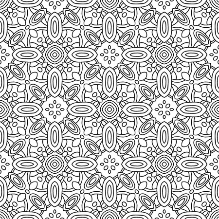 Seamless black and white decorative pattern, arabesque for coloring book page Illustration