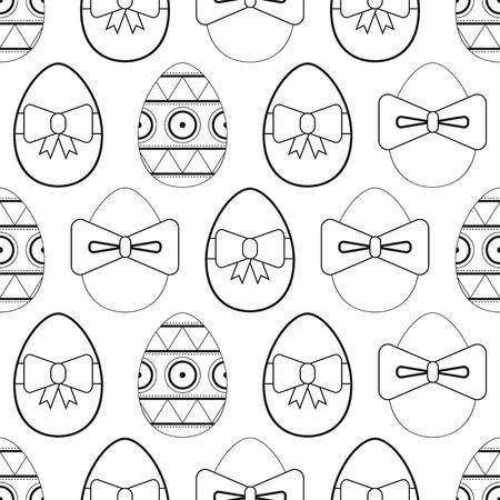 Conjunto De Los Huevos De Pascua En Blanco Y Negro Para Colorear ...