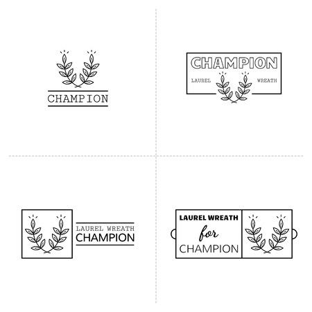 Laurel wreath icon, emblems and labels. Illustration