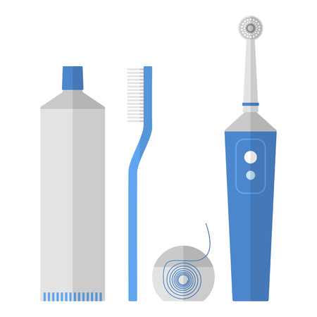 Oral hygiene. Set of toothbrush, dental floss, toothpaste, flat icons isolated on white background. illustration