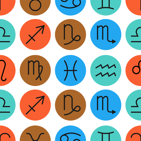 predictions: Seamless pattern of zodiac signs for horoscopes, predictions. illustration Illustration