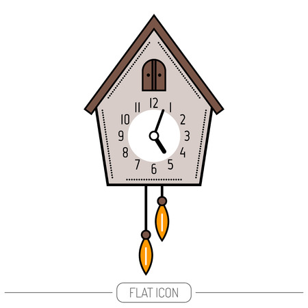 cuckoo clock: Cuckoo clock. Color flat icon isolated on a white background. illustration.