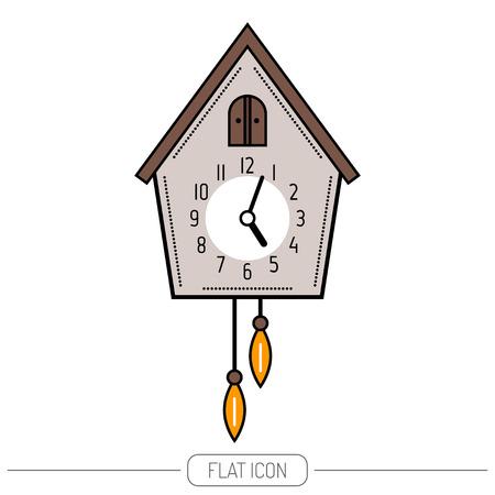 reloj cucu: Reloj cucú. El color del icono plana aislado en un fondo blanco. ilustración.