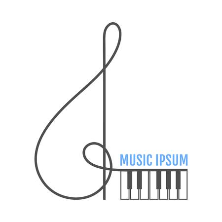 Music treble clef, piano keys. Music icon. Vector illustration