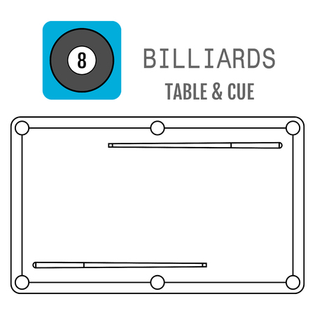 pocket billiards: Icon of a billiard ball. Pool table and cues. Vector illustration