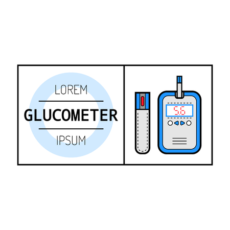 glucose: Glucometer and test strip for determination of glucose. Label, color flat icon, medical equipment for diabetics