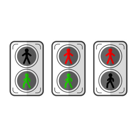 pedestrians: Traffic light for pedestrians. Flat colored objects, icons isolated on white background. illustration