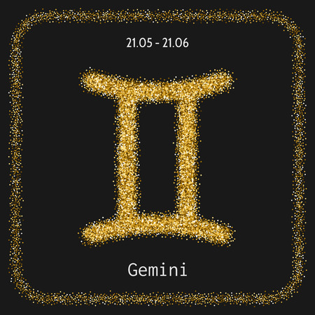 are gold: Gemini. Sign of the zodiac in gold glitter isolated on a dark background. Horoscope. illustration Illustration
