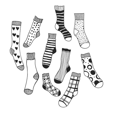Black and white doodle socks isolated. illustration