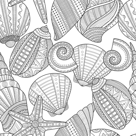 spiral book: Sea shells. Black and white seamless pattern for coloring book, pages. illustration Illustration