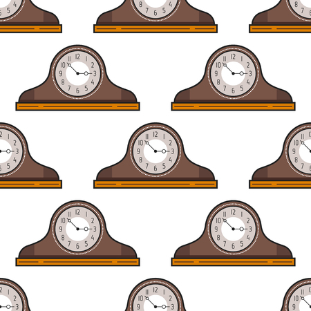 mantel: Seamless pattern with mantel clock . Decorative background. Vector illustration Illustration
