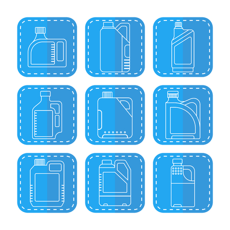 with liquids: Blank plastic canisters, flat linear icons. Plastic packaging for machine oil, water and other liquids. Vector illustration Illustration