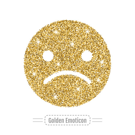 smile icon: Sad emoticon without smile icon, golden glitter emotional sign. Vector illustration Illustration