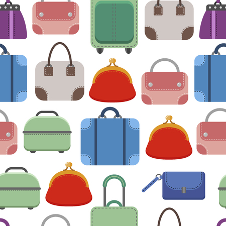 lady shopping: Hand bags. Seamless pattern on white background. Fashionable bags, accessories. Vector illustration