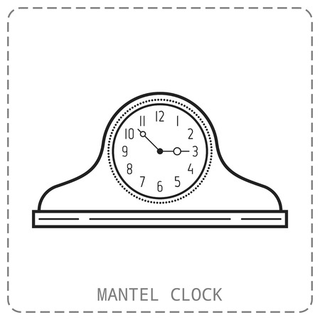 watch movement: Mantel clock, linear icon. Object isolated on white background. Vector illustration. Watch vector