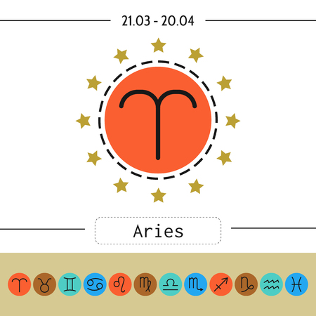 predictions: Aries, zodiac sign icon for horoscopes, predictions. Vector illustration