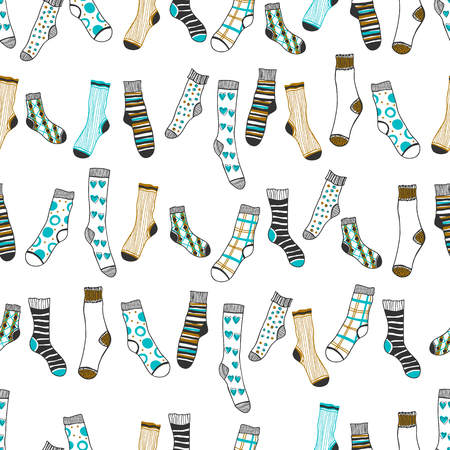 Seamless pattern of doddle socks on a white background. Clothing. Vector illustration