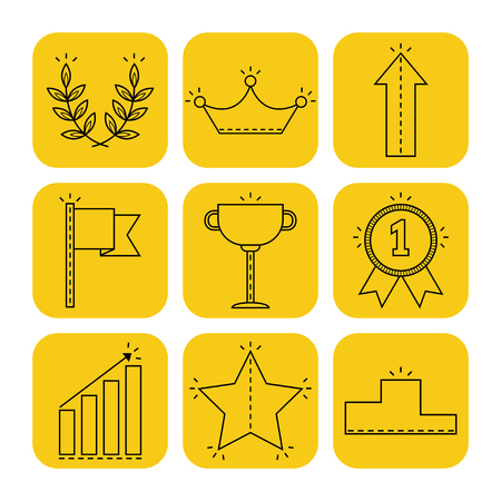 the substrate: Victory and success. Linear flat icons on colored substrate. Vector illustration