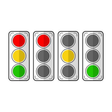 traffic lights: Types traffic lights. Flat icons. Vector illustration