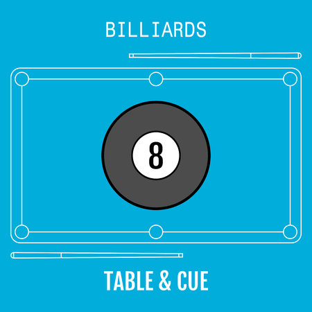 cues: Billiard ball. Sport flat icon. Pool table and cues. Vector illustration