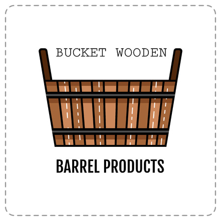 cartoon wood bucket: Wooden tub, basket isolated on white background. Bath products. Flat colored icon. Vector illustration