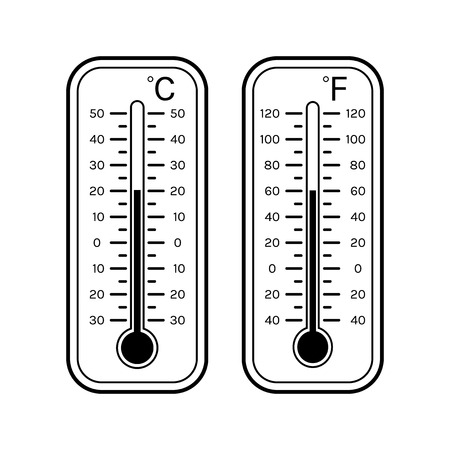 thermometers: Linear flat icons of thermometers for weather. Scale Celsius, Fahrenheit. Black and white object