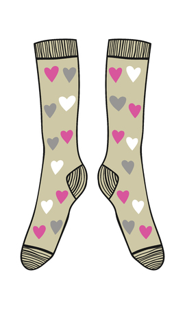 Paar doodle sokken op een witte achtergrond. Kleding, accessoires. Vector illustratie.