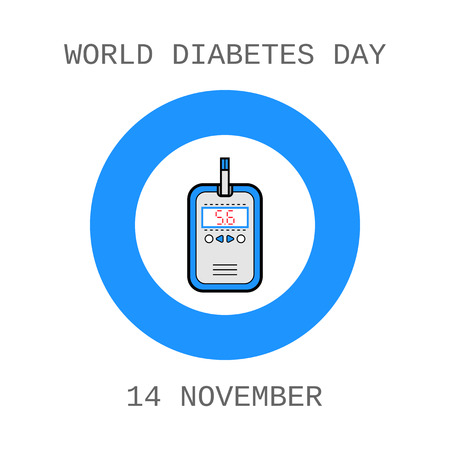 medical equipment: World Diabetes Day. Glucometer and test strip. Label, flat icon, medical equipment. Vector illustration