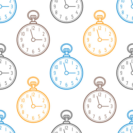 pocket watch: Pocket watch. Seamless pattern with clocks on white background. Vector illustration
