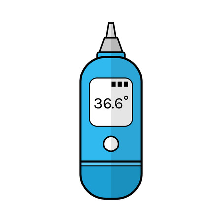 home care nurse: Ear thermometer for measuring temperature of human body. Flat color icon. Baby products. Medical device. Vector illustration