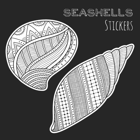 cockleshell: Black and white shell. Stickers isolated on black background. Sea life.