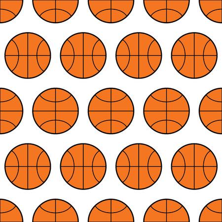 sports balls: Seamless pattern of basketball, sports balls. Vector illustration
