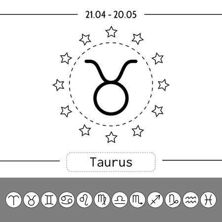 predictions: Aries. Signs of zodiac, flat linear icons for horoscope and predictions. Vector illustration