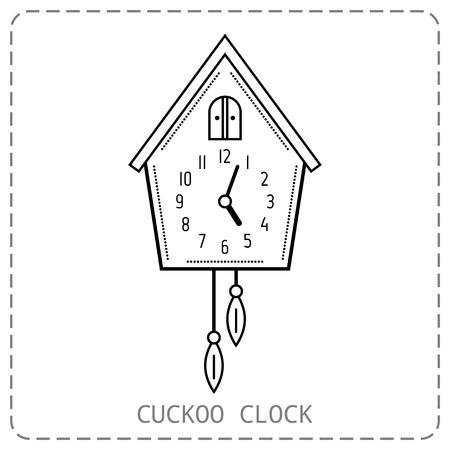 reloj cucu: Reloj cuc�. icono plano lineal aislado en el fondo. objeto blanco y negro. ilustraci�n vectorial Vectores
